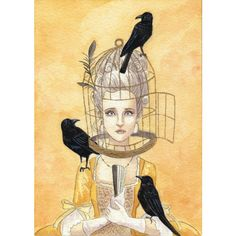 bird cage lady with crows small art piece and artist trading card ($3) ❤ liked on Polyvore featuring home, home decor, birdcage home decor and bird cage home decor