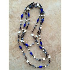 Blue Necklace, Stone Necklace, Beaded Necklace, Wood beads, Rustic... (42 CAD) via Polyvore featuring jewelry, necklaces, wood bead necklaces, knot necklace, triple necklace, round necklace and blue bead necklace