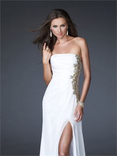 Column Straight Neckline With Appliques and High Side Slit Floor Length Chiffon Prom Dress PD1384 www.tidedresses.co.uk $169.0000