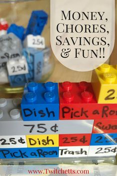 Your kids will be learning money, doing chores, saving money, & having fun with is interactive Lego chore chart.