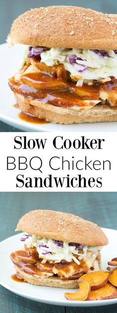 These Slow Cooker BBQ Chicken Sandwiches are an easy dinner that your ...