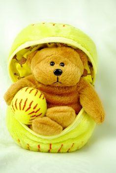 Fastpitch Softball Teddy Bear in a Ball $19.95