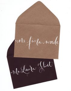 Tiny escort envelopes and cards - kraft or black. $1.00, via Etsy.