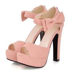 Bowtie Ankle Strap Peep Toe Women High Heel Sandals