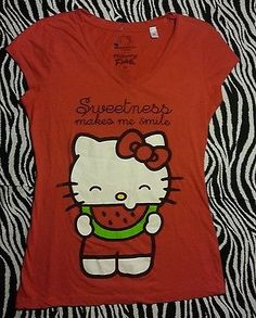 Sanrio Hello Kitty Juniors Red Tee Shirt Size M EUC | eBay