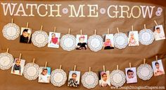 vintage shabby chic tea stained first birthday party watch me grow month by month banner with doilies