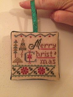 Lake Geneva Cross Stitch: Lizzie Kate Merry Christmas finished as a norament… Cross Stitch Christmas Ornaments, Xmas Cross Stitch, Cross Stitch Pillow, Just Cross Stitch, Cross Stitch Finishing, Christmas Cross, Cross Stitching, Cross Stitch Embroidery, Christmas Embroidery