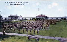 U.S. Battalion on Parade Grounds, Sullivans Island, S.C.  Postmarked 1912