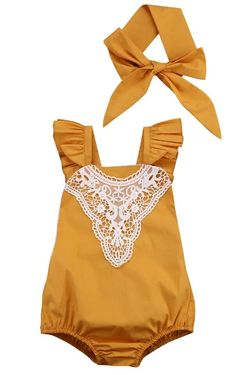 Mustard Romper And Headband Set Girl Romper Baby Girl Clothes First Birthday Outfit Girl