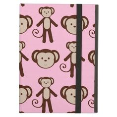 Cute Pink Girly Monkey Girl Collage Pattern iPad Folio Cases SOLD on Zazzle