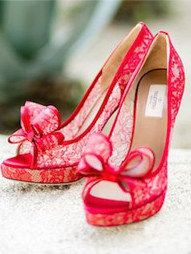 Red Lace Bow Heels