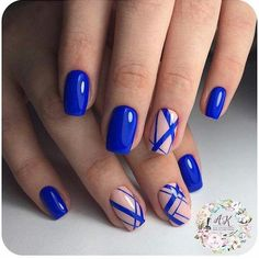 Geometric nail art designs look beautiful and chic on short and long nails. Geometric patterns in any fashion field are the style that fashionistas dream of. This pattern has been popular in nail art for a long time, because it is easy to create in n Blue Nail Designs, Simple Nail Art Designs, Beautiful Nail Designs, Easy Nail Art, Cool Nail Art, Nail Manicure, My Nails, Nail Polish, Nail Deco
