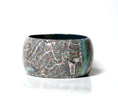 Armreifen VENEDIG City map Panorama Vintage von PappLePapp auf Etsy