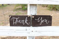 Rustic Wedding Thank you Signs / Set of Two / by ThePaperWalrus, $29.99