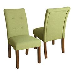 Green Kristen Tufted Parson Chairs, Set of 2