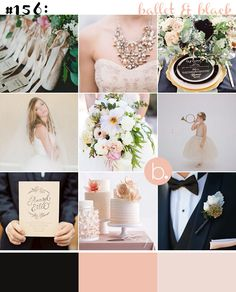 Black, blush gold wedding palette