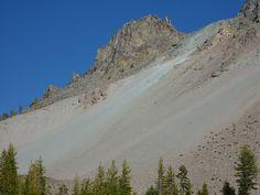 Chaos Crags avalanche slope, Lassen Volcanic National Park, California [http://trailingahead.blogspot.com/2013/09/chaos-crags-trail-to-chaos-crater.html]