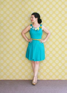 Turquoise Dress with a Little Vintage Flower Brooch Garden.