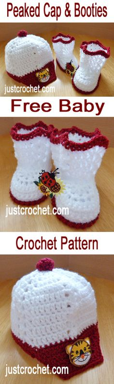Free baby crochet pattern for peaked cap and booties - click to see more.