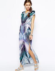 River Island Feather Print Maxi Dress