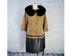 VINTAGE 1960's Suede Coat w/ Fur Collar //  Dark Brown Leather and Tan Suede Coat by villavillavintage on Etsy https://www.etsy.com/listing/225285940/vintage-1960s-suede-coat-w-fur-collar