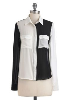 On the Double Top - White, Black, Color Block, Buttons, Long Sleeve, Mid-length, Cutout, Party, Casual, Statement