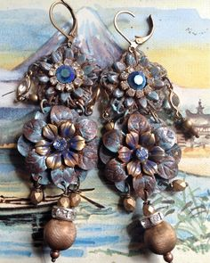 Lilygrace Patina Flower Dangle Earrings with Vintage Rhinestones by LilygraceOriginals on Etsy https://www.etsy.com/listing/186159038/lilygrace-patina-flower-dangle-earrings
