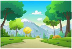 Illustration mountains, trees, cornfield | Premium Vector #Freepik #vector #tree #car #wood #leaf Scenery Background, Cartoon Background, Animation Background, Forest Illustration, Landscape Illustration, Game Concept Art, Environment Concept Art, Vector Photo, Cute Drawings