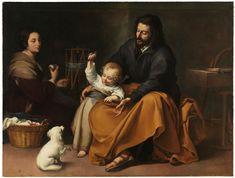 The Holy Family with a Little Bird / Sagrada Familia del pajarito // c. 1650 // Bartolomé Esteban Murillo // #Jesus #Christ #VirginMary #SaintJoseph #parenthood #child #parents #dog