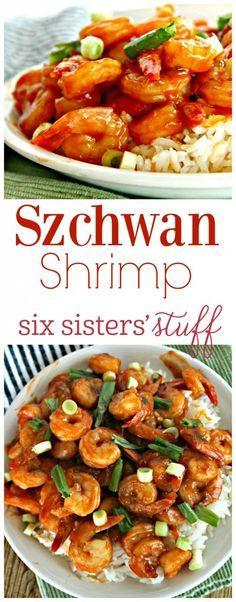 Shrimp Recipes Szchwan Shrimp by Six Sisters& Stuff Spicy Shrimp Recipes, Shrimp Appetizers, Shrimp Dishes, Salmon Recipes, Fish Recipes, Seafood Recipes, Asian Recipes, Ethnic Recipes, Shrimp Meals