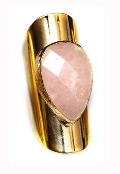 Pink Quartz Faceted Ring