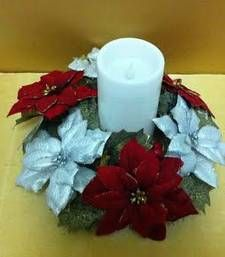 Christmas gifts red and silver ponsettias candle holder shop online Rs 750