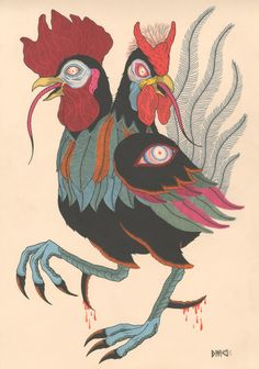 Double headed rooster by David M. Cook aka Bonethrower