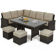 Sit and relax in the most popular Maze Rattan set, the Kingston Corner Dining is available in both brown and grey to suit most garden styles. Easily seating up to 8 people you can enjoy outdoor dining in a high level of comfort without the fuss of 2 different sets. The synthetic rattan can be left out all year without being affected by the UK weather, saving you time to spend in your garden.