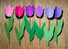 Tulipanes de papel para hacer con niños - Manualidades de papel y cartón - Manualidades para niños - Charhadas.com