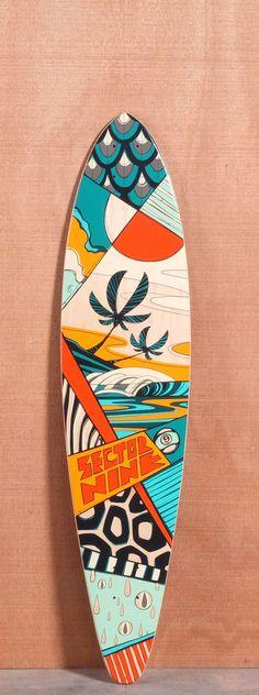 "Sector 9 40"" Island Time Orange Longboard Deck"