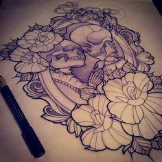 Imagem de tattoo, skull, and rose