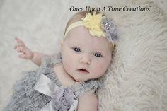 Light Yellow & Gray Shabby Chic Flower Rosette Headband - Spring Photo Prop - Shower Gift - Newborn Baby Hairbow - Little Girl Hair Bow