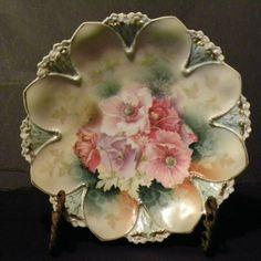 ~Antique Prussia Roses Decorator Plate