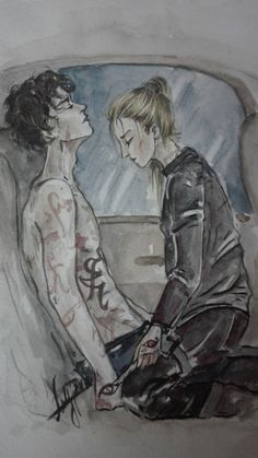 """Lady Midnight, favourite emma + julian moment When Emma healed Julian in the car with the """"powerful parabatai iratze""""… Art Day, Cassandra Clare, City Of Bones, Illustration, Drawings, Art, Anime, Fan Art, Lord Of Shadows"""