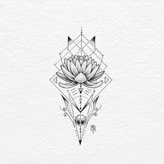 """2,833 Likes, 25 Comments - BACHT Drawing & Illustration (@bachtz) on Instagram: """"Lotus flower. Ink on drawing paper. Enjoy your weekend guys! . . . . . #lotus #geometrictattoo…"""""""