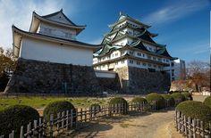 Japan travel. View of Nagoya Castle under blue sky. Japan tours picture.