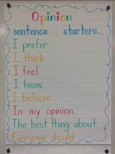 What's Your Opinion? - Sentence starters from Live, Love, Laugh, and Learn! This site also offers a video and other ideas for teaching persuasive writing.