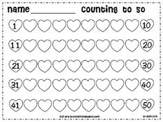 Free Kindergarten Valentine Counting Hearts to 50 / Math