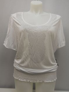 PLUS SIZE 2X Womens Knit Top INC Embellished Solid White Scoop Neck Short Sleeve #INCInternationalConcepts #KnitTop #Casual