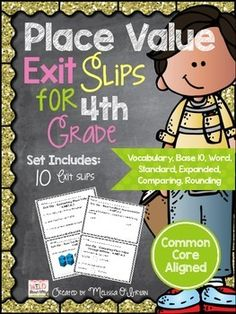 Free Sample of Grade 4 CCSS Exit Slips - use as warmups to review
