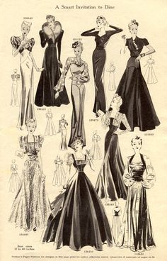 Gowns For Dancing and Dining 1939-40  In reflection...just as WWII was beginning...a change was in the wind.