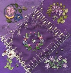 Fun with Silk-Ribbon Embroidery I ❤ crazy quilting & ribbon embroidery . Breast Cancer Lori Strablow of Purple CQ MadnessI ❤ crazy quilting & ribbon embroidery . Breast Cancer Lori Strablow of Purple CQ Madness Types Of Embroidery, Silk Ribbon Embroidery, Embroidery Stitches, Embroidery Patterns, Hand Embroidery, Quilt Patterns, Quilting Templates, Quilting Ideas, Embroidery Supplies
