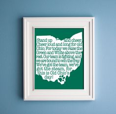 Custom Fight Song State Print by KenmoreHouse on Etsy Fight Song Lyrics, Ohio University Athens, Where The Heart Is, Craft Gifts, Artwork Prints, Home Crafts, Gift Guide, Decoration, Tennessee Outline