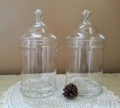 Pair Clear Vintage Glass Apothecary Jars Druggist Pharmacy by GladStoneatHome on Etsy